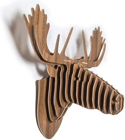 cabezas de animales de madera